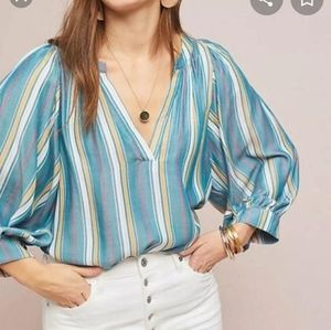 Anthropologie Maeve Striped Balloon Sleeve Blouse